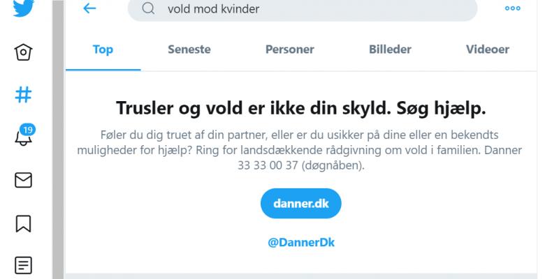Twitter og Danner i samarbejde om at række ud til voldsudsatte kvinder